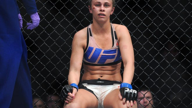 DPaige VanZant reacts following her loss against Rose Namajunas during UFC Fight Night at The Chelsea at the Cosmopolitan.