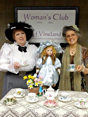 June Lang (left), Creative Arts/Dolly & Me Tea Chairman for the Woman's Club of Vineland, and Miss Kathy, also known as Kathryn Ross prepare for the club's Dolly & Me Tea which will be held on April 8.