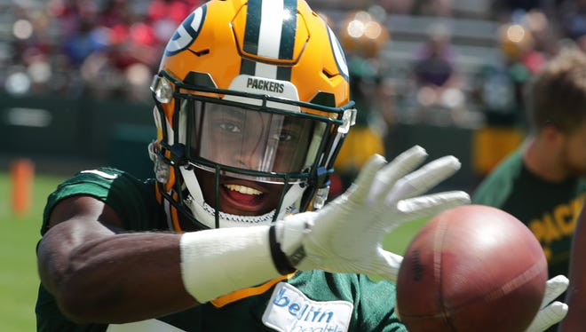 Green Bay Packers cornerback Josh Jackson (37) is shown during the final day of the team's three-day mini-camp Wednesday, June 13, 2018 in Green Bay, Wis.