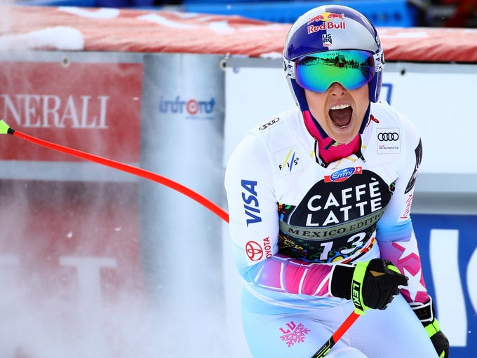 Lindsey Vonn gets to the finish area after completing