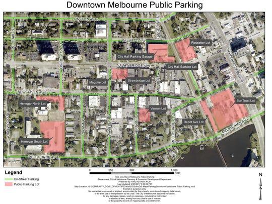 Downtown Melbourne Parking Map.