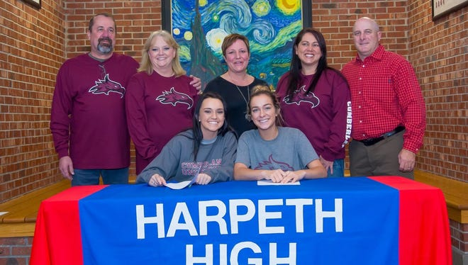 Harpeth High School Seniors Hannah Cox and Kailynn Beshears along with Parents William / Angie Cox and Diana / Shannon Beshears and Cumberland Volleyball Coach Kathy Slaughter