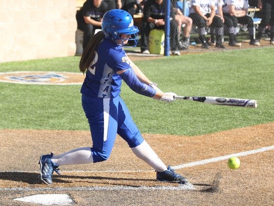 Angelo State's Taegan Kirk takes a swing against Tarleton