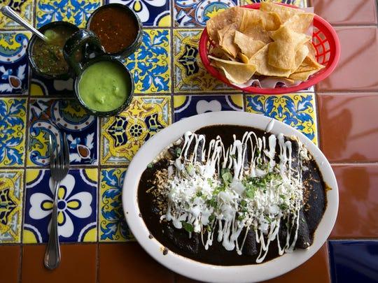 Enmoladas ($8.99) at La 15 Y Salsas in Phoenix.