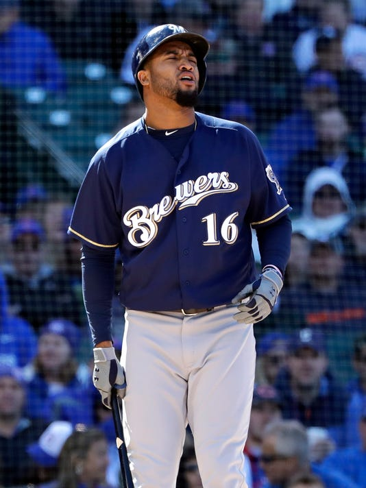 1eda0df2c3ea8a Domingo Santana and the Brewers offense had no answers for starting pitcher  Tyler Chatwood and a pair of Cubs relievers as Milwaukee was blanked