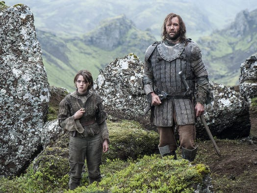 """Game of Thrones"" is nominated for best Drama Series. From left: Maisie Williams as Arya Stark and Rory McCann as Sandor 'The Hound' Clegane."