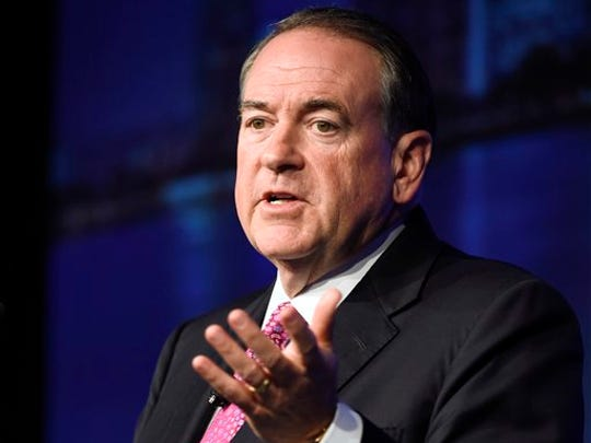 FILE - In this July 23, 2015 file photo, Republican presidential candidate, former Arkansas Gov. Mike Huckabee, speaks in San Diego. Huckabee's recent poll results earned him a place in the first prime time Republican presidential debate, Thursday.