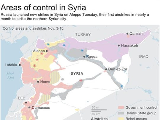 Map shows areas of control in Syria and recent airstrikes.