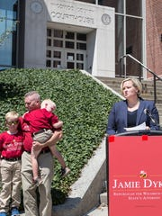 Jamie Dykes, a Parsonsburg native and a Salisbury University graduate and a graduate from law school at the University of Baltimore, is now announcing her run for the Wicomico County's States Attorney's Office.  She worked in the States Attorney's Office for nine years after graduating from law school handling some of the most serious crimes in Wicomico County. She was in charge of the Wicomico Child Advocacy Center for five years and prosecuted all of its cases. More than 100 people turned out to hear her announcement and her law and order platform. Her husband and children stand beside her as she makes her announcement.