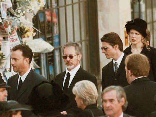 American film stars from left, Tom Hanks, Steven Spielberg,