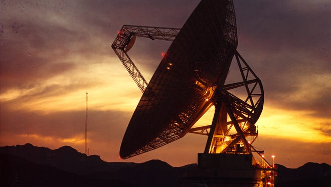 This undated photo provided by NASA and the Jet Propulsion Laboratory shows a deep space antenna at the NASA Deep Space Network site in the Mojave Desert about 115 miles northeast of Los Angeles.