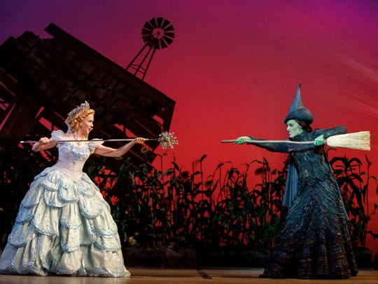 Ginna Claire Mason, left, as Glinda and Mary Kate Morrissey