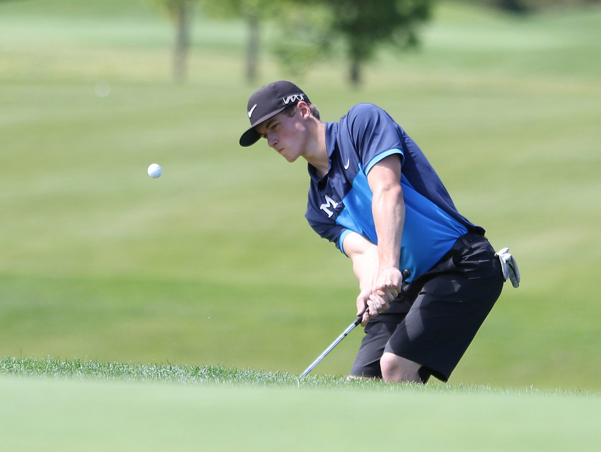 McNary's Brady Sparks competes during the first day of the Greater Valley Conference District Golf Tournament on Monday, May 2, 2016, at Trysting Tree Golf Club in Corvallis, Ore.