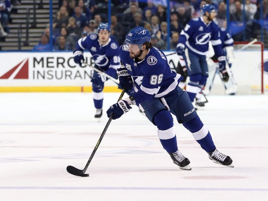 Tampa Bay Lightning right wing Nikita Kucherov.