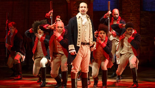 Lin-Manuel Miranda, foreground, with the cast of 'Hamilton,' which got a record 16 Tony nominations.