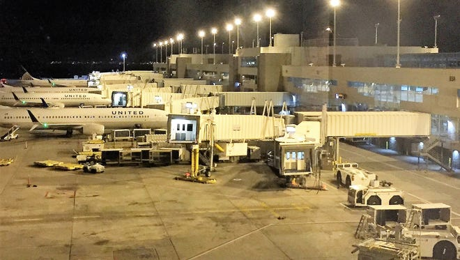 On this night, 10 United planes spent the night at the terminal, while eight were in the maintenance hangar.