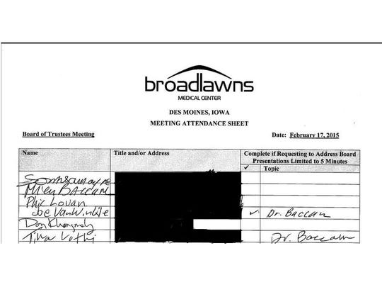 This is what the top of the sign-in sheet looked like at Tuesday's meeting of the Broadlawns Medical Center Board of Trustees. Audience members were only allowed to speak if they checked the box. The Register redacted speakers' addresses.