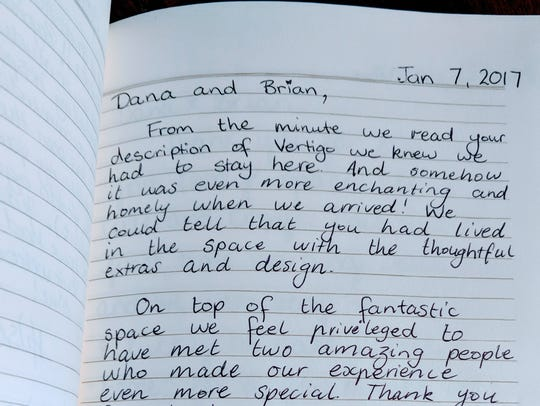 An excerpt from the guest book at Dana McMahan's Airbnb