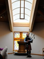 Andrew Bova, a native of Perrysburg and now a resident of Scotland, plays the bagpipes at Firelands Presbyterian Church as part of the Port Clinton Musical Arts Series on Sunday.
