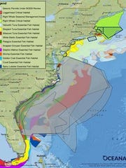 Oceana's map shows essential fish habitats in relation