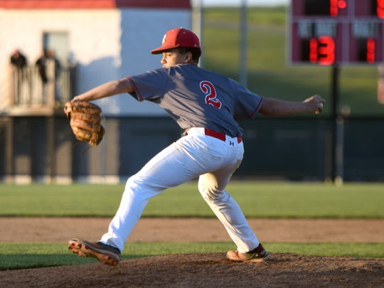 Riverheads reliever Michael Robertson delivers s pitch