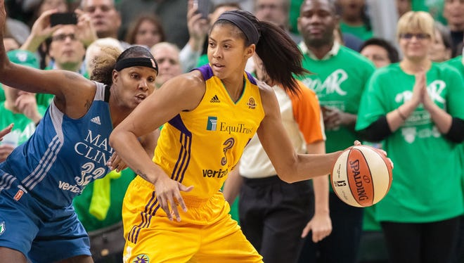 Candace Parker (3) scored a game-high 28 points in the Sparks' title-clinching victory.