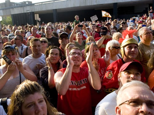 Fans gathered outside the Arena to celebrate the B-Sens' Calder Cup championship in 2011.