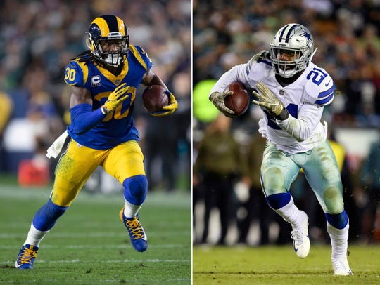 Two of the most explosive NFL running backs face off on Saturday: The Rams' Todd Gurley and Cowboys' Ezekiel Elliott.