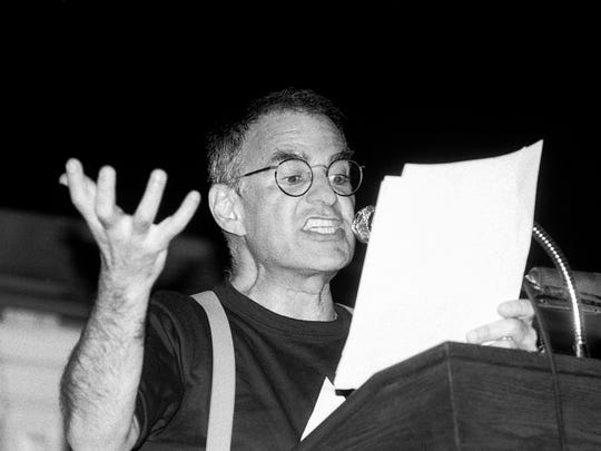 Larry Kramer speaking at a meeting in June 1987 at