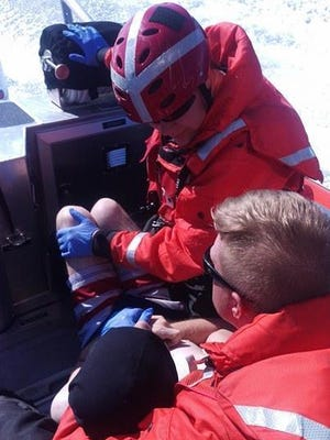 A Coast Guard Station Grays Harbor crew aboard a 29-foot Response Boat-Small II rescued a man who was swept out to sea while wading in the water near the Grays Harbor north jetty at Ocean Shores, Wash., July 17.