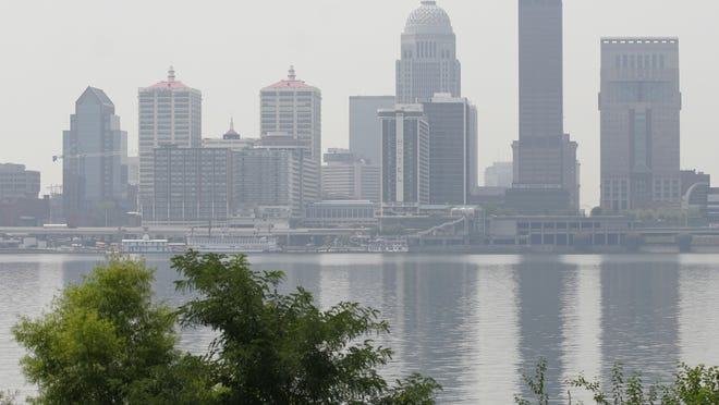File Photo A file photo from the summer of 2007 shows the city of Louisville shrouded in smog. The city of Louisville was shrouded in smog on a very hot day. Today was declared an air quality alert day. Ozone and Particle pollution was expected to be in the unhealthy range for sensitive groups. _ (By Pam Spaulding, The Courier-Journal)_August 2, 2007