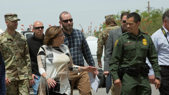 Susana Martinez, New Mexico Governor, tours the Santa Teresa Border Patrol Station, where units with the New Mexico State National Guard are based, Thursday, April 26, 2018.