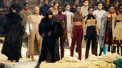 "Naomi Campbell poses onstage during Kanye West's ""Yeezy"