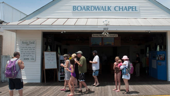 The Boardwalk Chapel, a branch of a local Presyterian Church, has been a staple on the Wildwood Boardwalk for over 70 years. Monday, June 23, 2014.