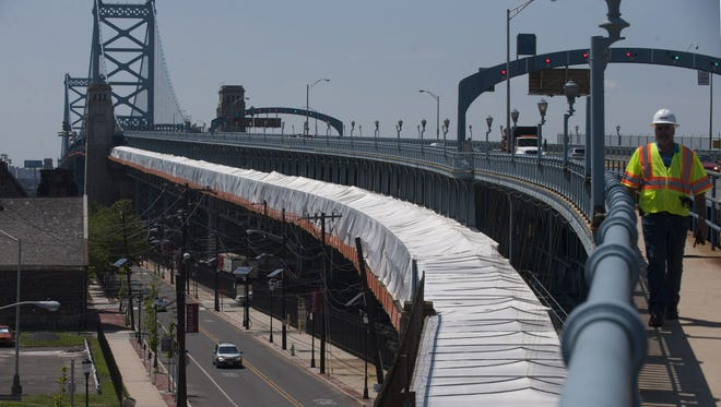 Construction during the summer on the PATCO Hi-Speedline rail replacement of the eastbound track on Ben Franklin Bridge. Construction has shifted to the westbound track, which will remain closed until Oct 22, forcing PATCO trains in both directions to use only one track until then.