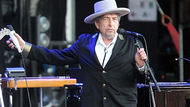 Bob Dylan performs at Les Vieilles Charrues Festival in Carhaix, western France, in 2012.