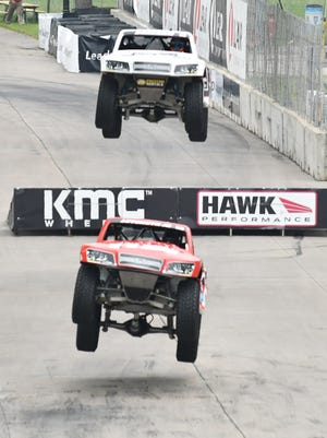 Arie Luyendyk Jr. drives in the lead during the SPEED Energy Stadium SUPER Truck Series race on Sunday.