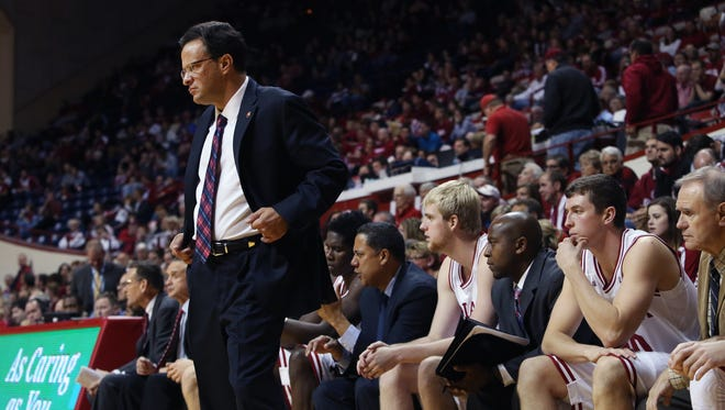 Indiana University head basketball coach Tom Crean keeps an eagle eye on his players during the Hoosiers' (2-0) 83-64 win over the Mike-Davis-led Texas Southern Tigers in Bloomington on Monday, Nov. 17, 2014.