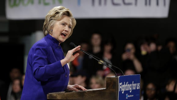 Hillary Clinton speaks during a Women for Hillary event