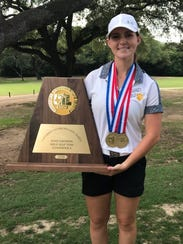 Blanket senior Marki Kinkade defended her individual title at the Class 1A girls state golf tournament Tuesday in Austin.