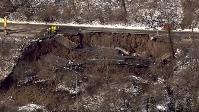 A collapsing hillside in East Pittsburgh has caused portions of Route 30 to collapse.