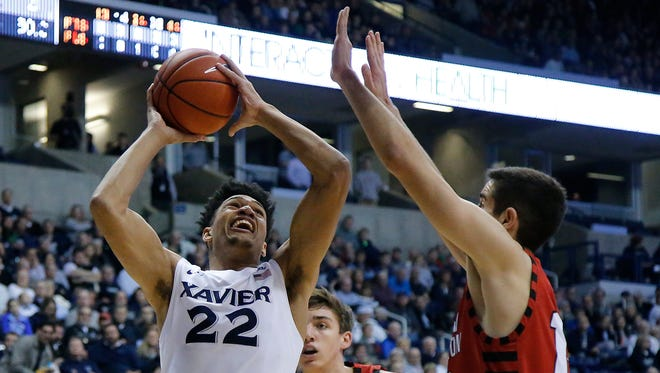 Xavier Musketeers forward Kaiser Gates (22) takes it the basket in the first half during the NCAA college basketball game between the Eastern Washington Eagles and Xavier Musketeers, Tuesday, Dec. 20, 2016, at Cintas Center in Cincinnati. Xavier leads 46-30 at halftime.