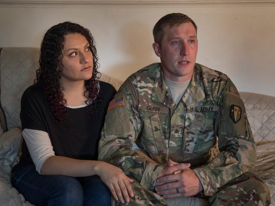 Sgt Chris Gunn, and wife Miriam Ochoa in their Neptune Township home as they discuss DACA.