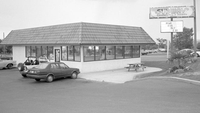 Not much has changed at the Subway on the corner of Bluff Street and 500 North in St. George since the then image was taken  by Spectrum photographer Nancy Rhodes in 1988. Th most obvious changes: A handicapped parking space has been added to the parking lot, a neon Subway sign now wraps around the roof and the large sign out front has changed on the building while a stoplight has been added at the intersection as can be seen in the now image taken by Spectrum photographer Jud Burkett. The $2.99 meal deal advertised on the sign in the then image is also no longer available, however, now a 6-inch sub, a drink and a bag of chips will set you back almost exactly twice as much - today's meal deal is $6.
