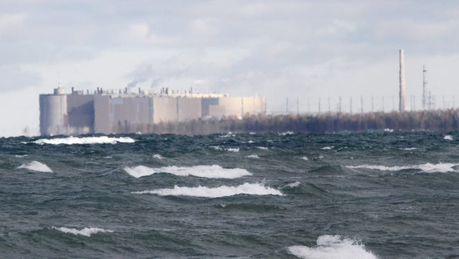 The Ontario Power Generation Bruce nuclear facility as seen from a beach off Lake Huron in Kincardine, Ontario.