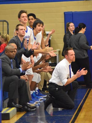 Chillicothe coach Eric Huffer encourages his team during a contest against Miami Trace, Jan. 26, 2016 at Chillicothe High School. Huffer's Cavaliers are currently prepping for a tournament run.