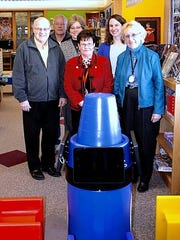 Showing off the new Krayon Kiosk at the Dormann Library in Bath are from left, Dave Taylor-Smith, John Stranges, Lauren Wilson, Elaine Tears, Carrie Foley and Carol Berry.