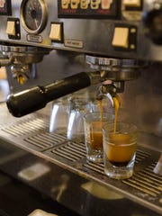 Shots of espresso are pulled at Emy J's in Stevens Point.