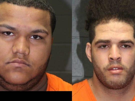 Jordy Bulgos (left) and Leovigildo Ramos were charged with third-degree grand larceny, a felony.