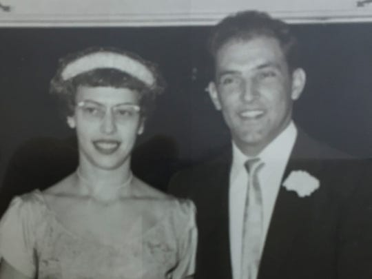 """A photo of Anthony """"Tony"""" and Joy Bray Baccile, taken on their wedding day of Oct. 15, 1955."""